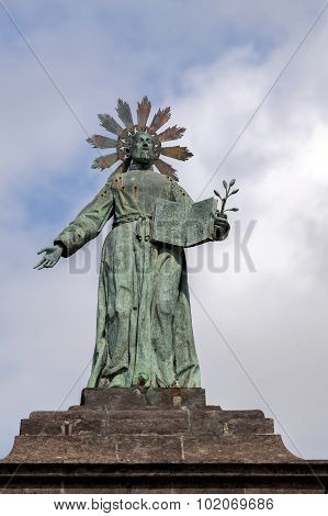 Statue Of San Gaetano On Top Of The Port'alba Gates In Naples