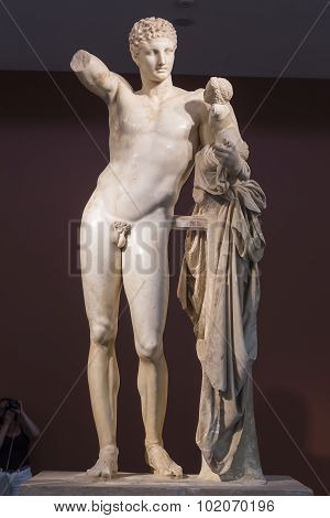 Hermes And Dionysus, Ancient Classical Greek Statue Of Hermes Of Praxiteles (museum Of Ancient Olymp