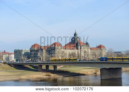 Ministerial Complex Beyond Elbe And Carola Bridge In Dresden, Germany.
