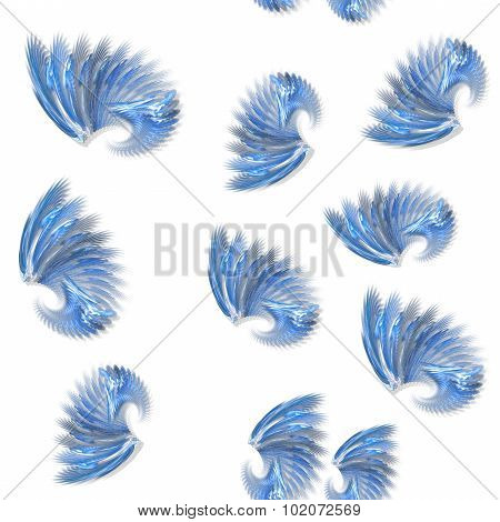 Seamless Blue Fractal Wings Pattern On White