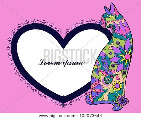 VECTOR background with cat and heart shape banner