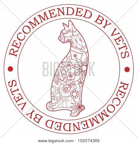 Vector stamp recommended by vets with cat