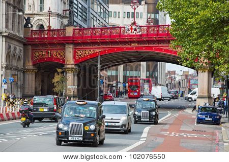LONDON, UK - SEPTEMBER 19, 2015: Holborn Viaduct, 1863-1869.  Building cost was over £2 million (ove