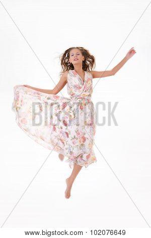 Young Beautiful Woman In Long Dress
