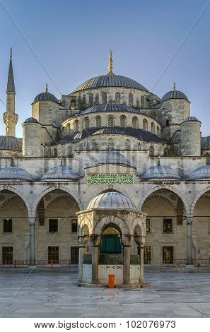 The Sultan Ahmed Mosque known as the Blue Mosque is an historic mosque in Istanbul. View from inner courtyard. poster