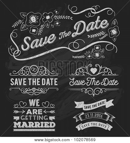 Set Of Save The Date Typography, Frame And Ribbon Chalk Style.
