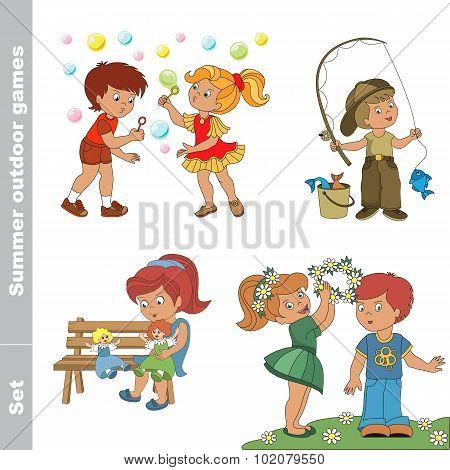 Summer outdoor hobby games for children.