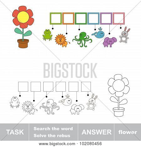 FLOWER. Find hidden word. Task and answer.