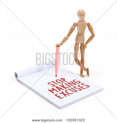 poster of Wooden mannequin writing in a scrapbook - Stop making excuses