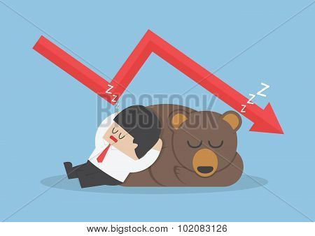 Businessman Sleeping With Bear With Down Trend Graph