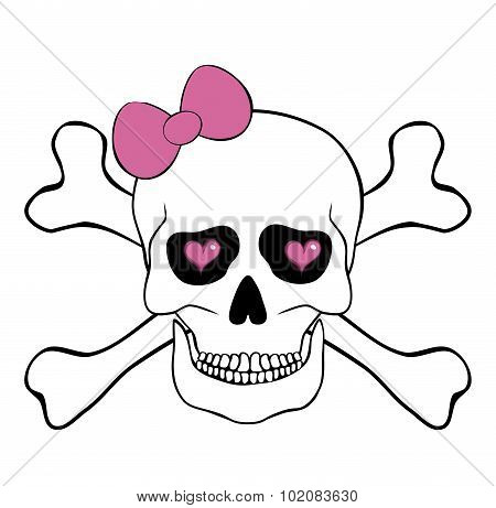 Skull With Pink Bow And Hearts In An Eye Sockets