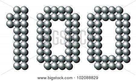 Hundred Balls Number Iron Metallic Gray