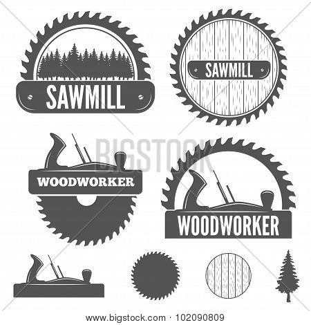 Set of badge, labels or emblem elements for sawmill, carpentry and woodworkers