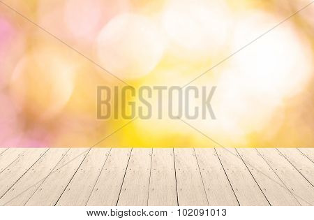 Wood Plank With Bokeh Background