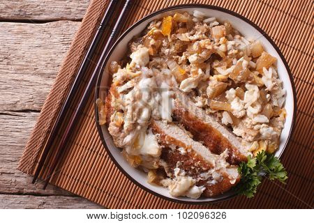 Katsudon Fried Pork Tonkatsu With Egg And Rice Closeup. Horizontal Top View