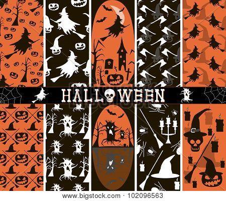 10 Seamless Spooky Halloween Patterns