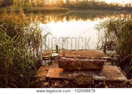 Fishing Dock And Water Reed