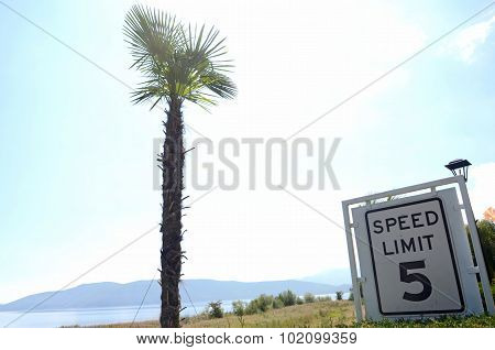 picture of a Speed Limit 5 Sign