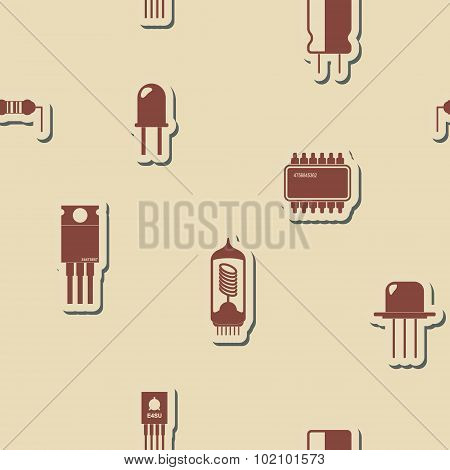 Seamless background with electronic components icons for your design poster