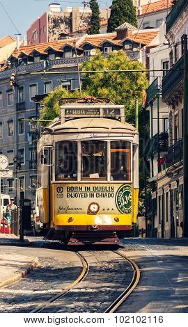Famous Old Tram In Lisbon, Portugal.