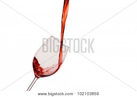in a glass of red wine is lively empties. red wine in wine glass