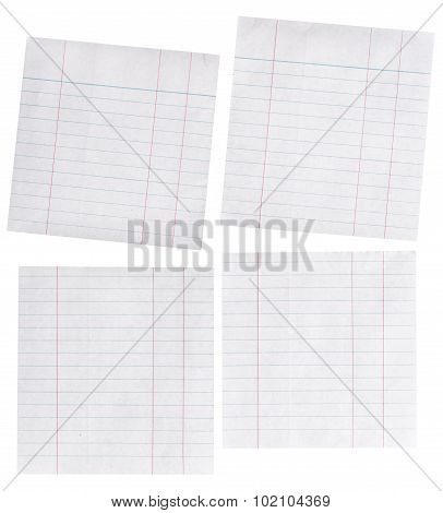 Close Up Piece Of Lined Paper Isolated On White