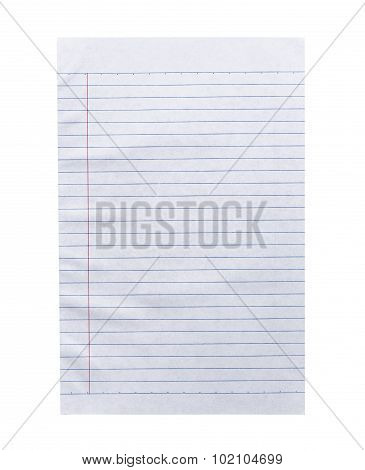 Close Up White Lined Paper Isolated On White
