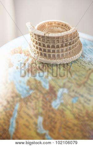 Coliseum Of Rome On Globe