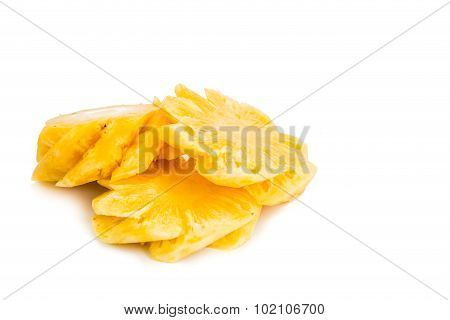 Freshly Cut Juicy, Sweet Nutritious Pineapple Fruit Isolated In White.