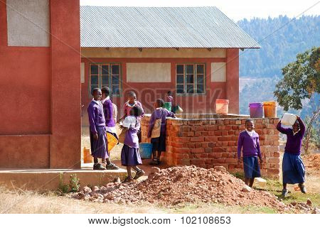 The Middle School Students During A Break Between The Lessons, Africa 53
