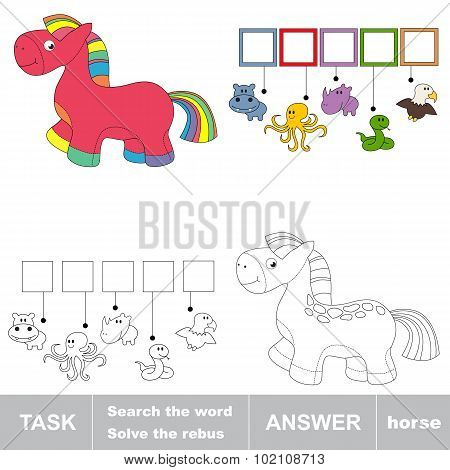 Pink rainbow horse toy. Task and answer.