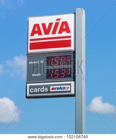 Avia Sign With Fuel Prices At The Filling Station