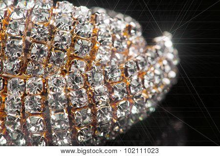 Gold Diamond Necklace Macro