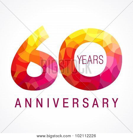 60 years old celebrating fiery logo. Anniversary flamed year of 60 th. Vector congrats flamy 0 numbers. Flaming greetings celebrates with volume. Stained-glass digits and flames. Mosaic figures.