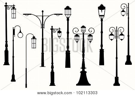 Collection silhouettes of vector city street lanterns.