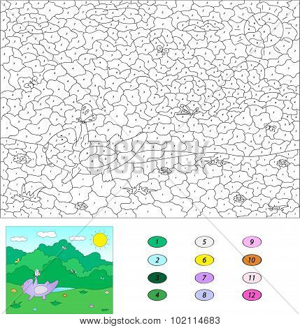 Color By Number Educational Game For Kids. Purple Dragon Playind On The Sumer Or Spring Meadow. Illu