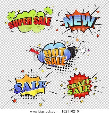Set of pop art comic sale discount promotion vector illustration transparent backgraund