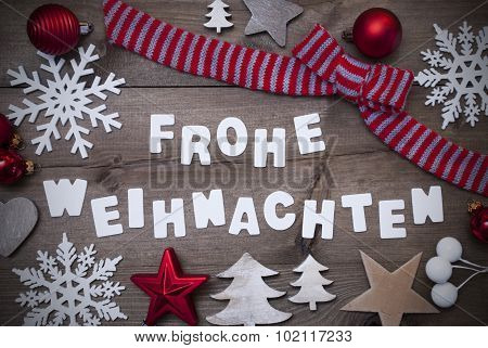 Frohe Weihnachten Mean Merry Christmas,Red Loop Decoration