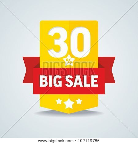 Big sale 30 percent badge with red ribbon. Vector illustration.