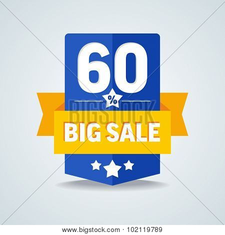 Big sale 60 percent badge with yellow ribbon. Vector illustration.