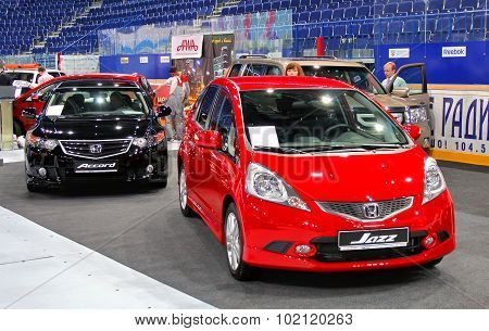 UFA, RUSSIA - JUNE 10: Japanese motor car Honda Jazz on display at the annual Motor show