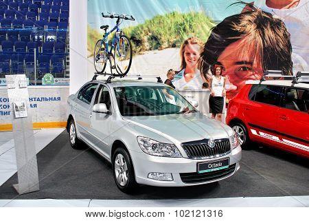 UFA, RUSSIA - JUNE 10: Czech motor car Skoda Octavia on display at the annual Motor show