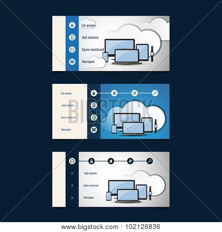 Web Design Elements - Header Designs with Cloud Computing Concept