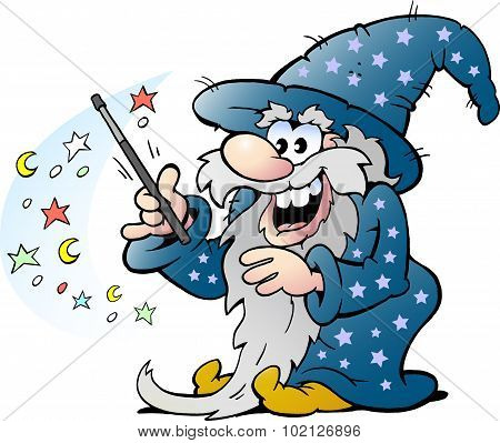 Vector Cartoon Illustration Of A Happy Old Wizard Magic Man Holding A Wand