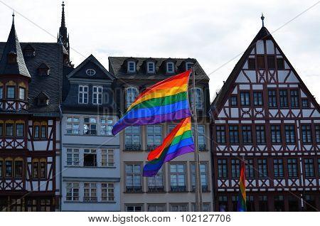 Rainbow flags waving at gay pride in Frankfurt