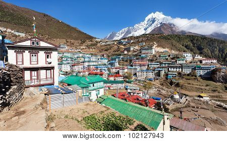 View Of Namche Bazar And Mount Thamserku