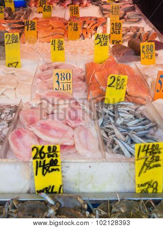 Fish for sale at Chinatown in New York City