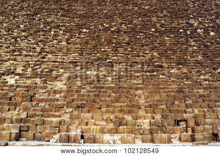Close up of the Great Pyramid of Giza Egypt.
