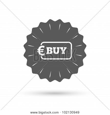 Vintage emblem medal. Buy sign icon. Online buying Euro eur button. Classic flat icon. Vector poster