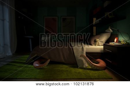 Interior children's room with a tentacular monster under the bed 3D rendering